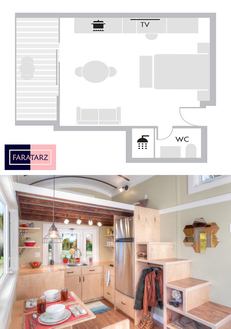 پلان و فضای داخلی خانه کوچک هوشمند