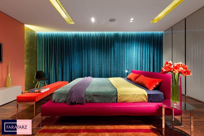 اتاق خواب مستر با رنگ گرم شاد