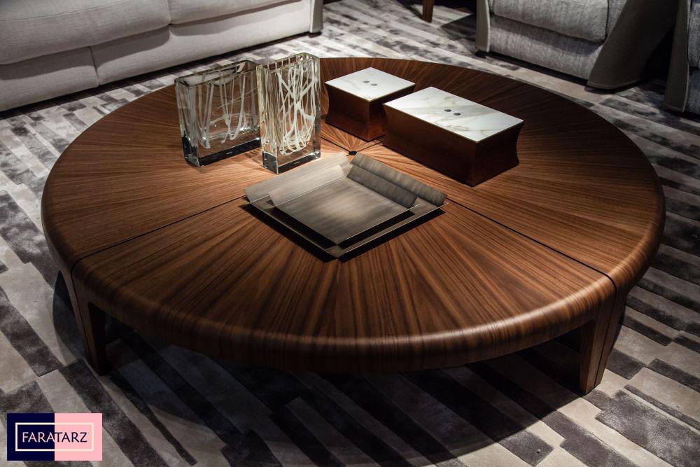 میز گرد چوب گردو