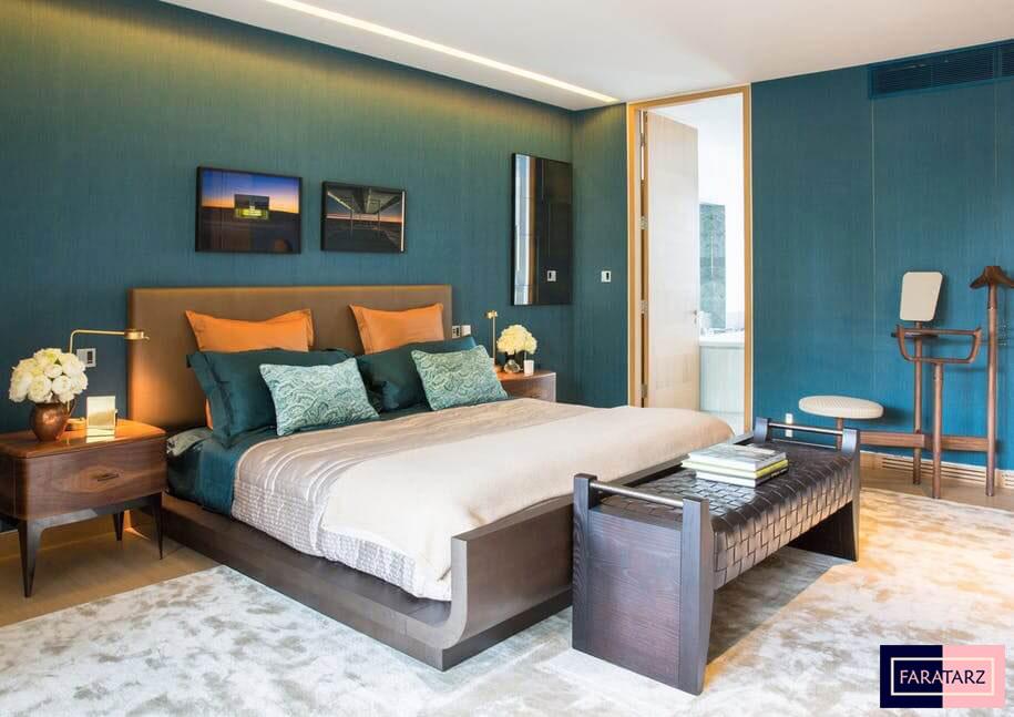 اتاق خواب مستر با رنگ های ترکیبی1