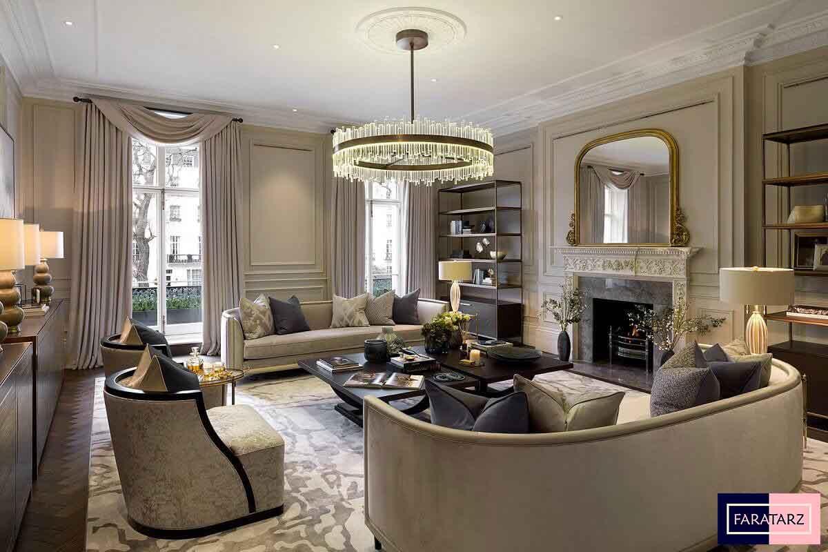 طراحی داخلی خانه لوکس کلاسیک معاصر