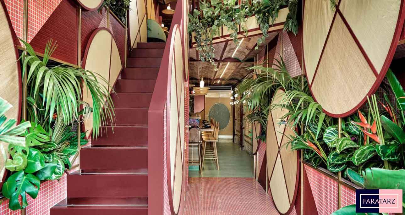 طراحی داخلی رستوران به سبک استوایی