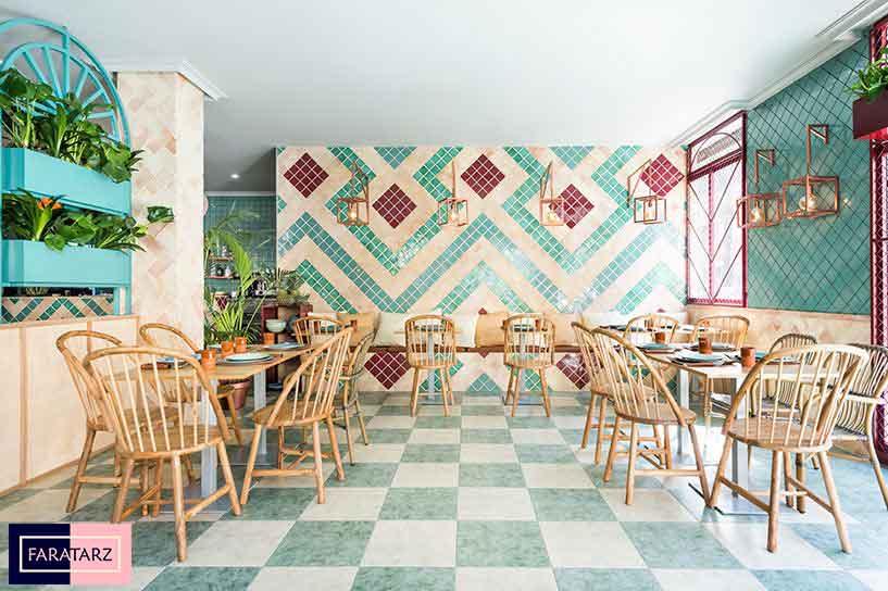 طراحی داخلی رستوران مدیترانه ای اسپانیایی