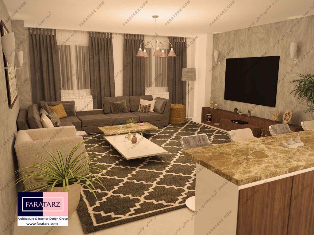 بازسازی فضای نشیمن آپارتمان ۷۵ متری کرج