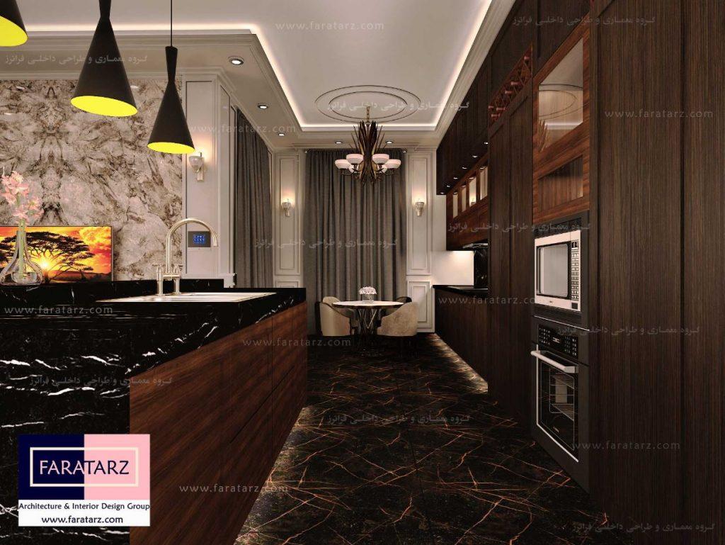 طراحی داخلی لوکس آشپزخانه و نشیمن در ویلا - فراترز