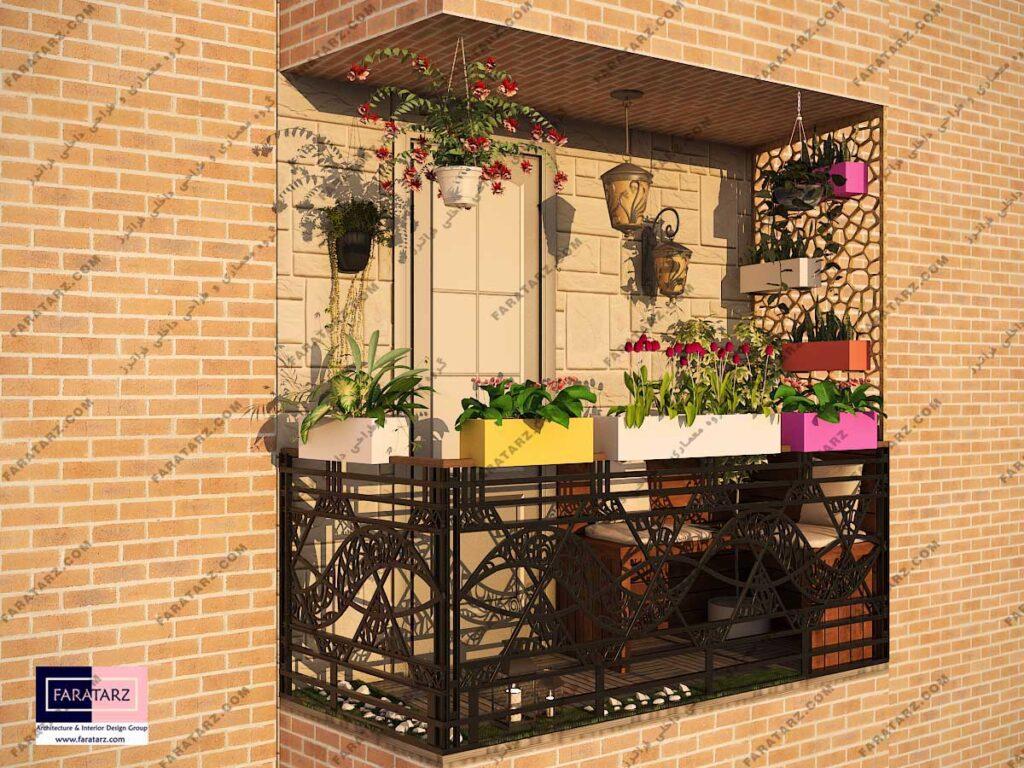 مشاوره طراحی داخلی بالکن آپارتمان 90 متری کرج