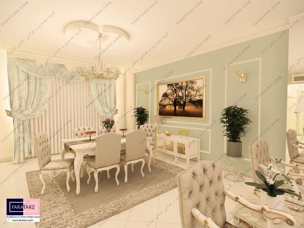 مشاوره طراحی داخلی غذاخوری آپارتمان 90 متری در کرج
