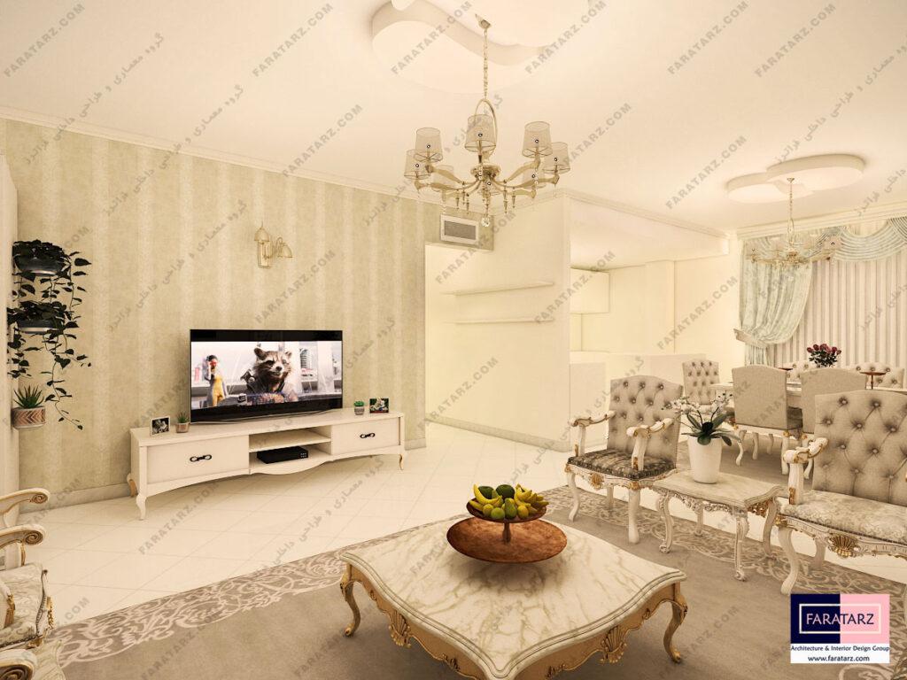 مشاوره طراحی دکوراسیون داخلی پذیرایی آپارتمان 90 متری در کرج