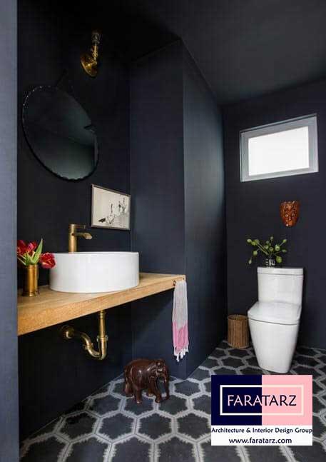 طراحی داخلی با رنگ تیره در فضای داخلی در سرویس بهداشتی