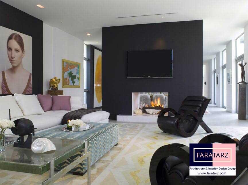 طراحی داخلی با رنگ تیره در فضای داخلی در ویلا
