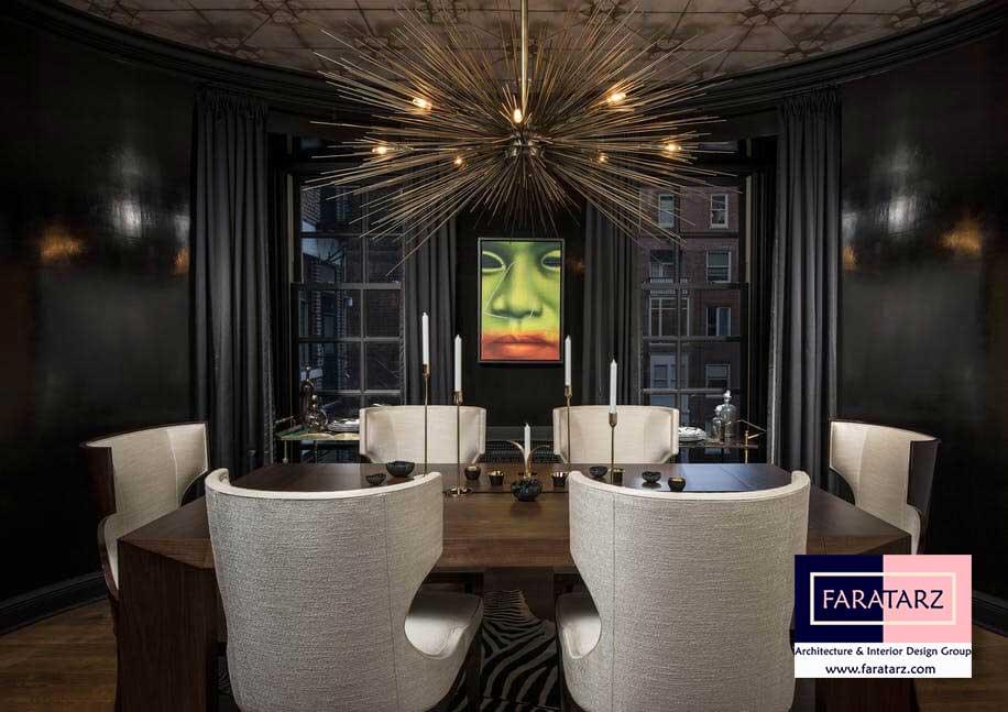 طراحی داخلی با رنگ تیره در فضای داخلی در پذیرایی