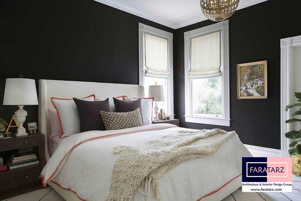 طراحی داخلی با رنگ تیره در فضای داخلی در اتاق خواب