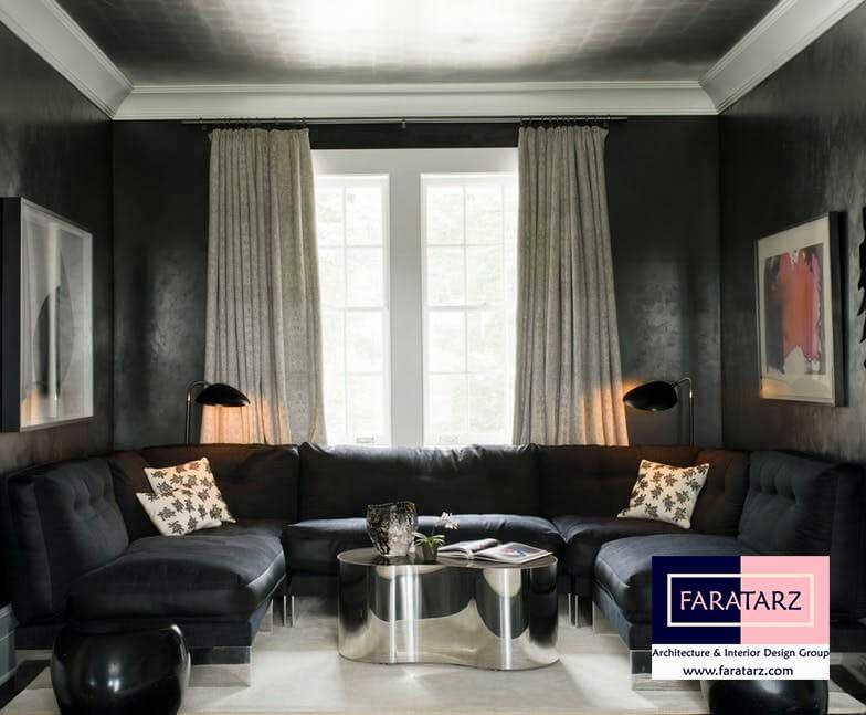 طراحی داخلی با رنگ تیره در فضای داخلی در فضای نشیمن