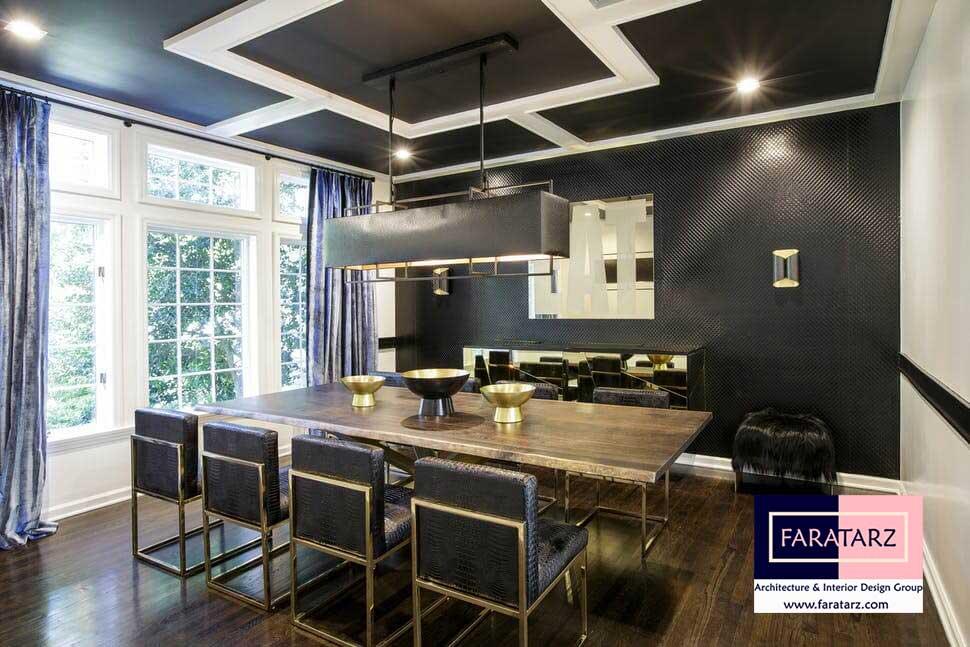 طراحی داخلی با رنگ تیره در فضای داخلی در خانه