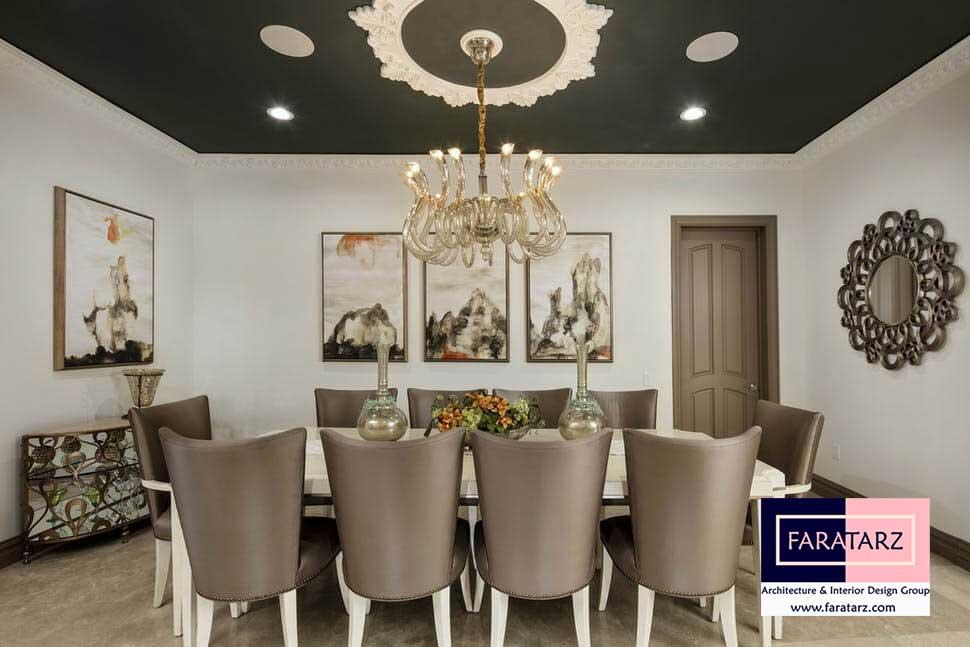 طراحی داخلی با رنگ تیره در فضای داخلی غذاخوری