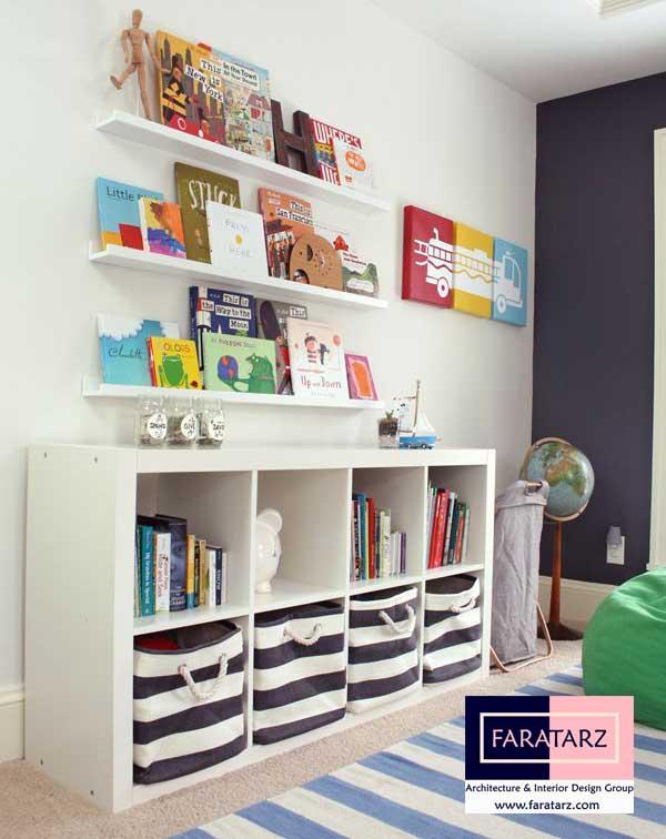 ذخیره سازی وسایل در طراحی دکوراسیون اتاق کودکان