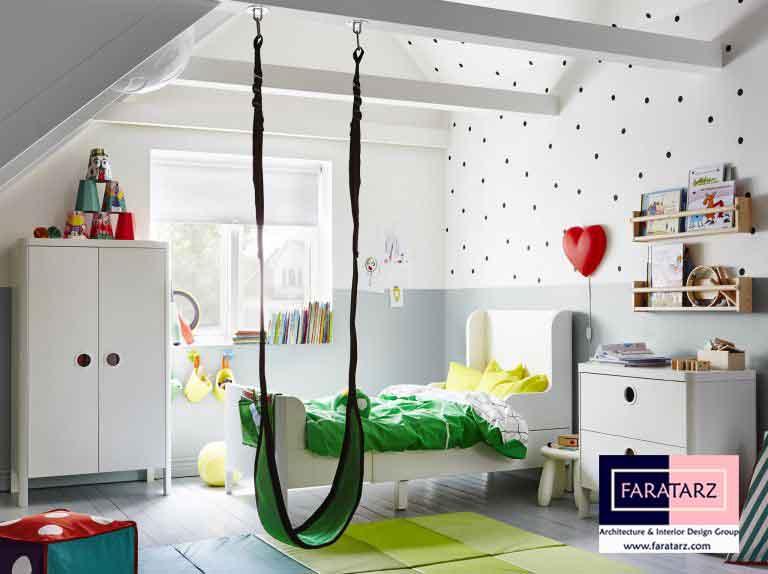 استفاده از تاب در طراحی دکوراسیون اتاق کودکان