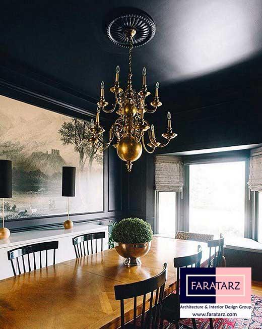 استفاده از رنگ های تیره برای پوشش رنگ سقف