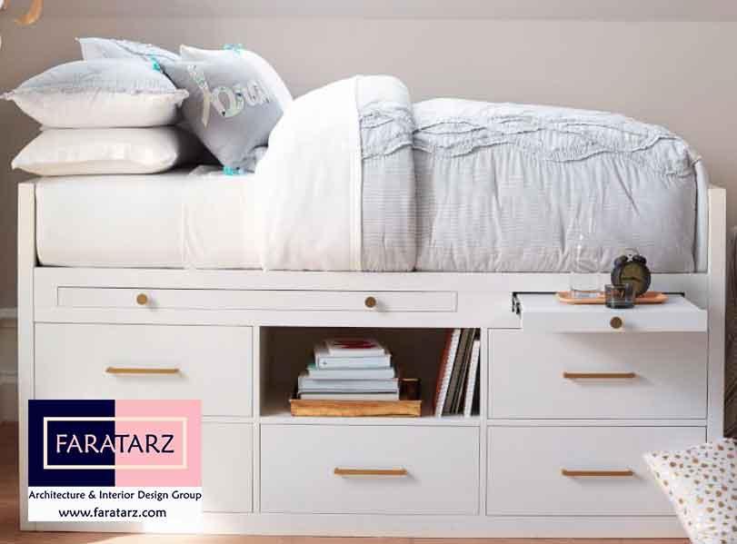 تخت خواب های شلف و کشودار چند منظوره در اتاق خواب