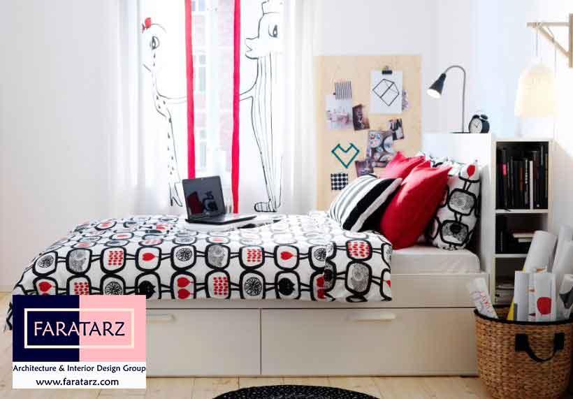 تخت خواب های کشودار چند منظوره در اتاق خواب نوجوان