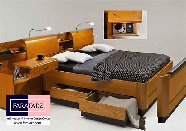 تخت خواب های چند منظوره چوبی همه کاره در اتاق خواب
